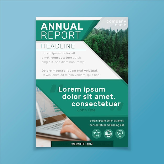 Abstract templateannual report with picture Free Vector