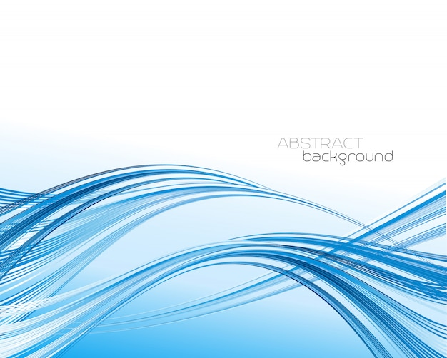 Abstract template background with blue curved wave. Premium Vector