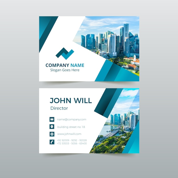 Abstract template business card pack Free Vector