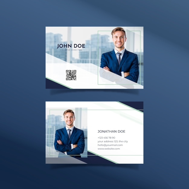 Abstract template business card with photo Free Vector