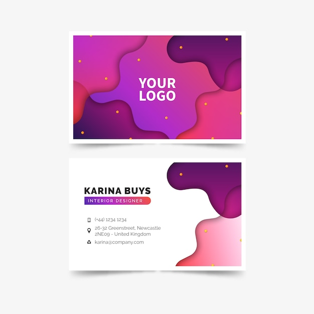 Abstract template colorful business card Free Vector