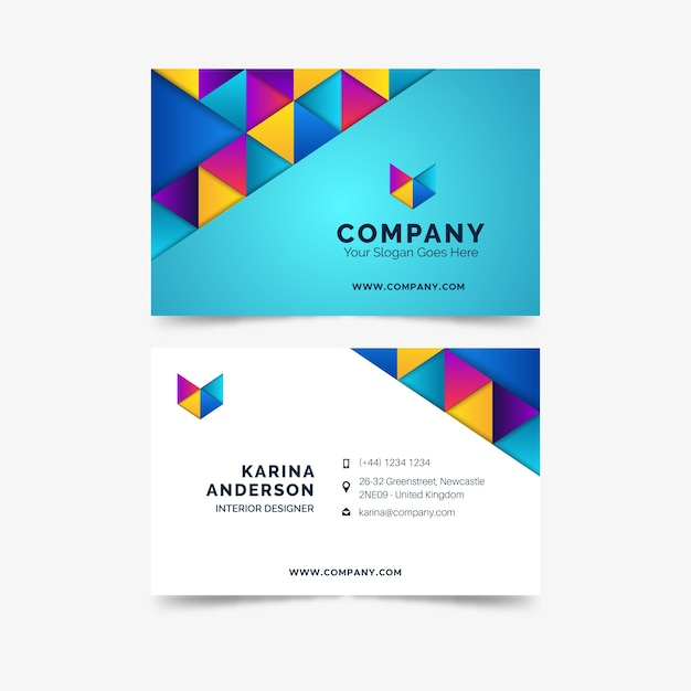Abstract template colorful business visiting card Free Vector