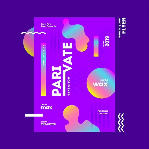Abstract template or flyer design with venue details for private sensation party. Premium Vector