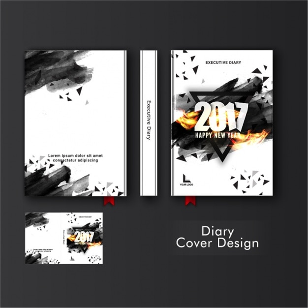 Abstract Template Of Diary Cover With Black Triangles Premium Vector