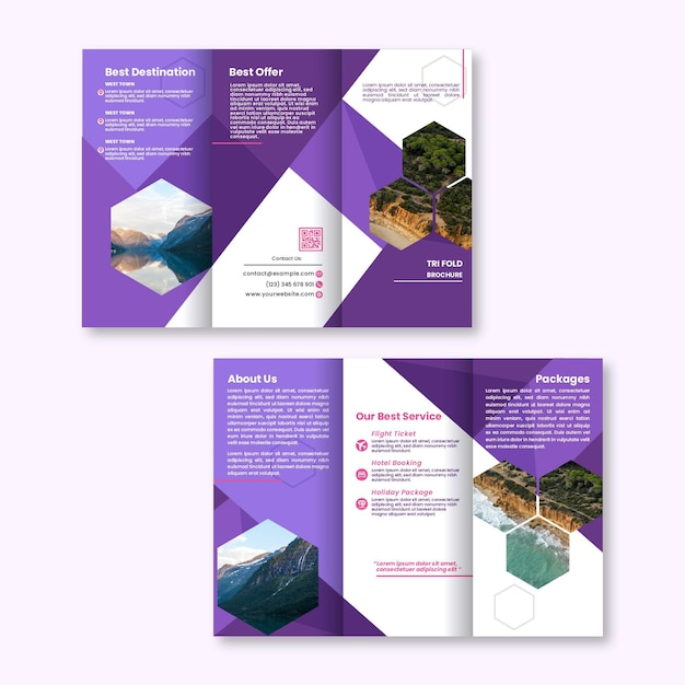 Abstract template for trifold brochure with front and back ...