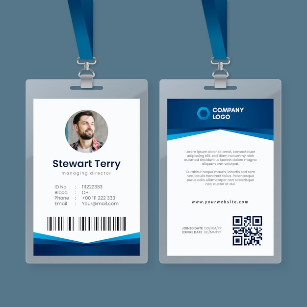 Abstract template with photo for id cards Free Vector