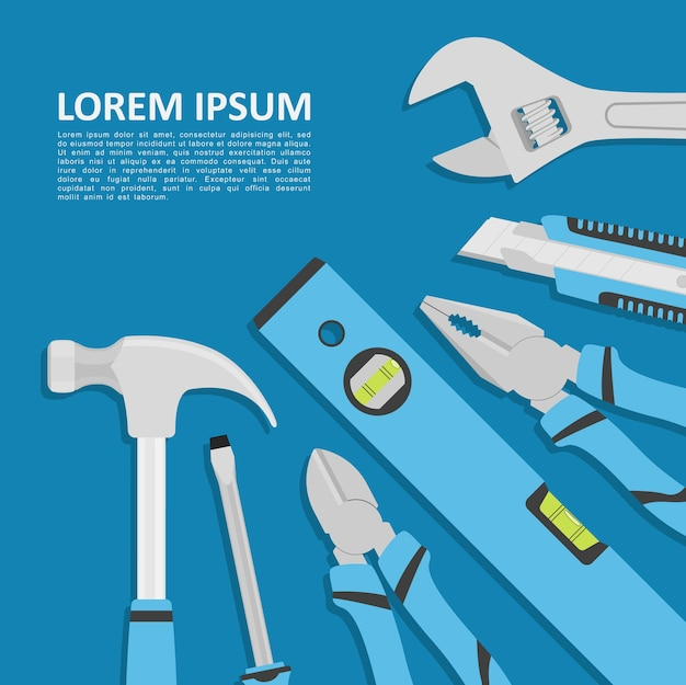Abstract template with tools on blue background,  style illustration Premium Vector