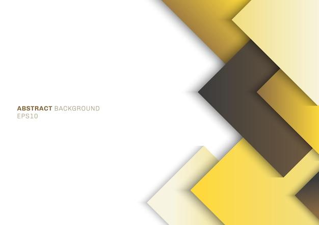 텍스트 흰색 배경 공간에 레이어 겹치는 그림자와 추상 템플릿 노란색 사각형. 프리미엄 벡터