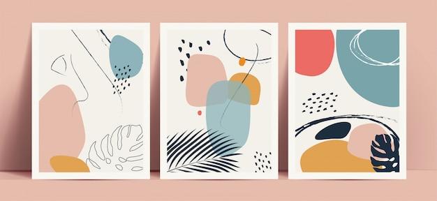 Абстрактная предпосылка стиля terrazzo установила с формами и линиями пастельных цветов нарисованными рукой геометрическими и тропическими силуэтами листьев. работает для декора настенных принтов или обложек книг или флаеров или оформления меню. Premium векторы
