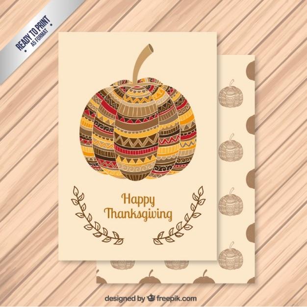 Abstract thanksgiving pumpukin card Premium Vector
