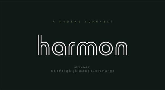 추상 얇은 선 글꼴 알파벳입니다. 최소한의 현대 패션 글꼴과 숫자. 프리미엄 벡터