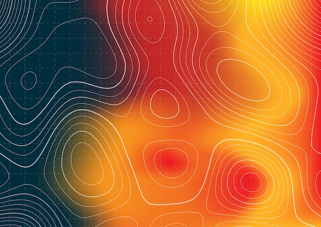 Abstract topography map design with heat map overlay Free Vector