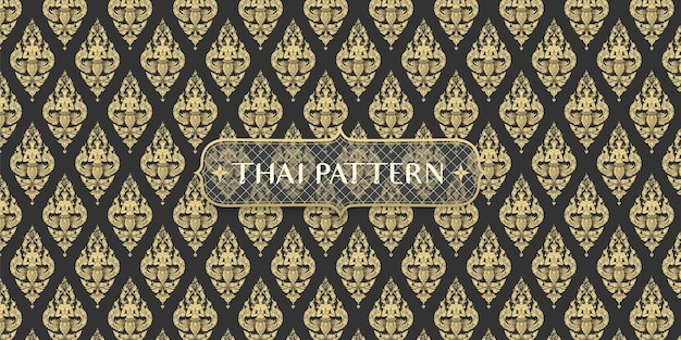 Abstract traditional hand drawn black and gold thai angle pattern background Premium Vector