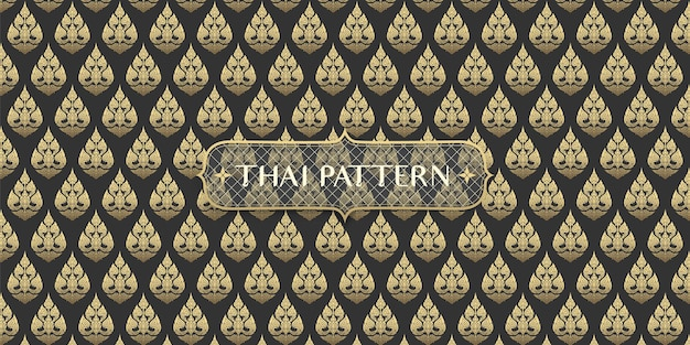 Abstract traditional hand drawn black and gold thai flower pattern background Premium Vector