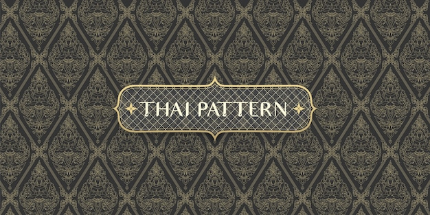 Abstract traditional hand drawn thai pattern connecting angel and flowers Premium Vector