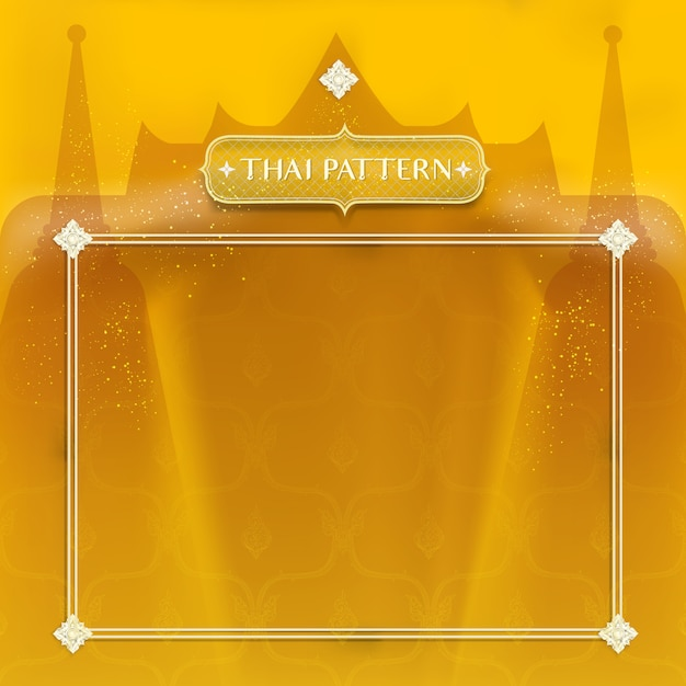 Abstract traditional thai background. decorated by golden temple and stupa Premium Vector