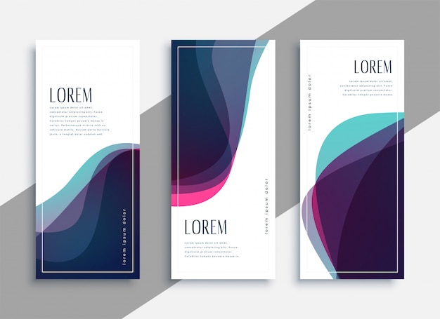 Abstract transparent curve shapes banner set Free Vector