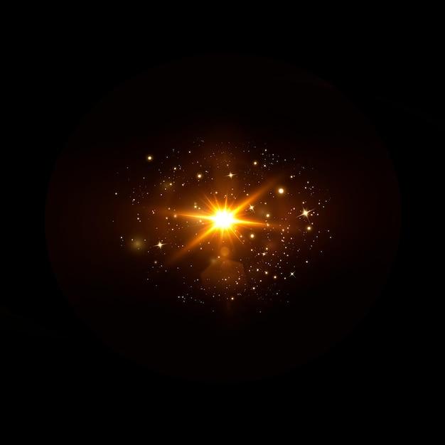 抽象的な透明な太陽光の特別なレンズフレアライト効果。ブレインモーショングローグレア。孤立した透明な背景。装飾要素。水平方向のスターバースト光線とスポットライト。 Premiumベクター
