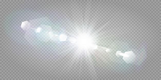 Абстрактный прозрачный солнечный свет специальный объектив бликов световой эффект. размытие в движении свечение блики. изолированный прозрачный фон. элемент декора. горизонтальная звезда взрыв лучей и прожектор. Premium векторы