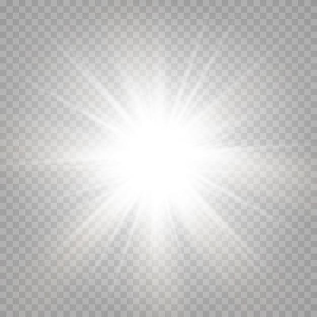 抽象的な透明な日光の特別なレンズフレアの光の効果。モーションブラーのまぶしさをぼかします。孤立した透明な背景。装飾要素。水平スターバースト光線とスポットライト。 Premiumベクター