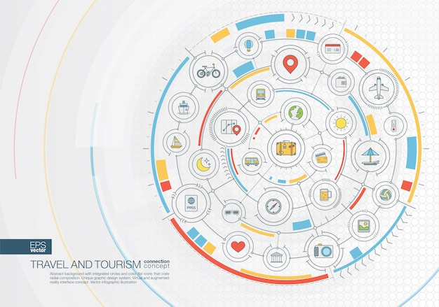 Abstract travel background. digital connect system with integrated circles, color  icons. radial graphic  interface. future concept.  infographic illustration Premium Vector