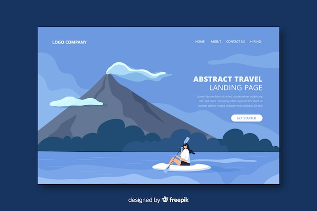 Abstract travel landing page Free Vector