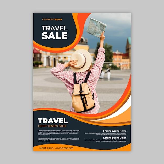 Абстрактный туристический флаер с фото Premium векторы