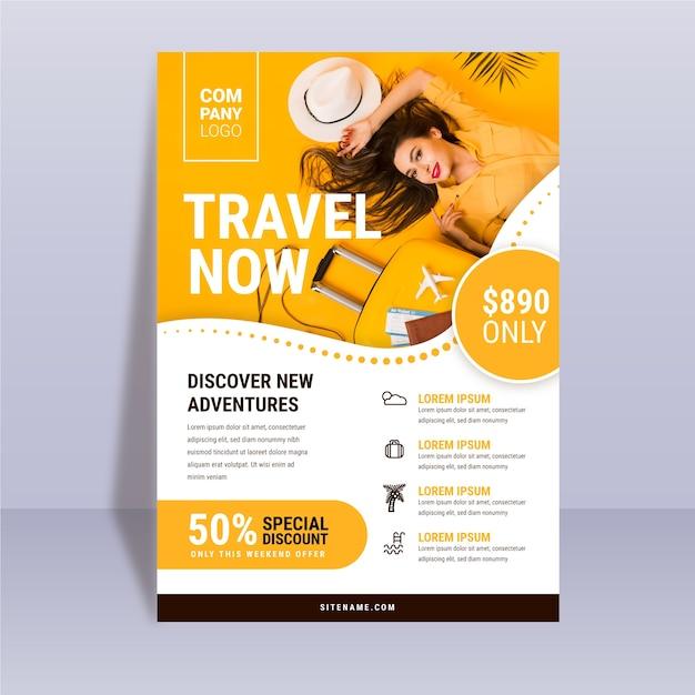 写真と抽象的な旅行ポスターテンプレート Premiumベクター