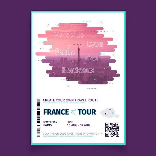 프랑스의 사진과 함께 추상 여행 포스터 무료 벡터