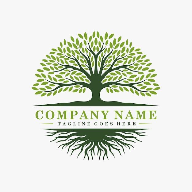 抽象的な木のロゴとルーツのデザイン Premiumベクター