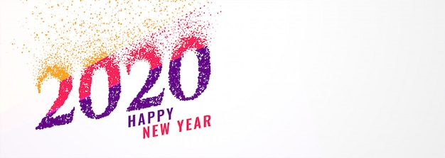 Abstract trendy 2020 new year banner with sparkles Free Vector