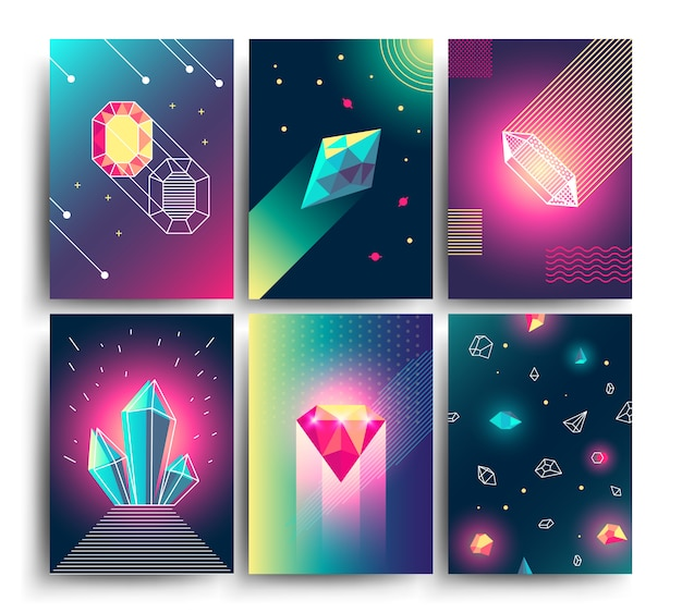 Abstract trendy vector cosmic posters with crystal gems and pyramid geometric shapes. neon galaxy backgrounds in 80s style Premium Vector