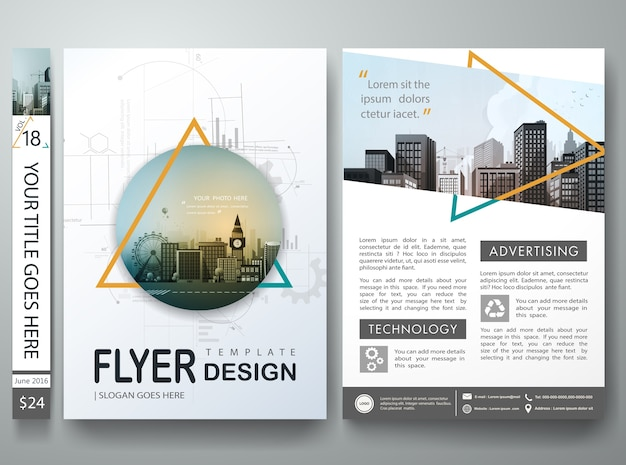 Abstract triangle on cover book portfolio in layout design Premium Vector
