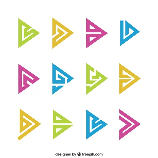 Abstract Triangle Symbols In Colors Pack Vector Free Download
