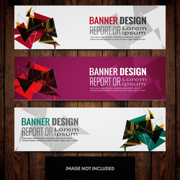 Abstract triangles banner design templates with grey pink and white background