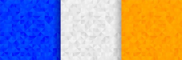 3色の抽象的な三角形パターン背景デザイン 無料ベクター