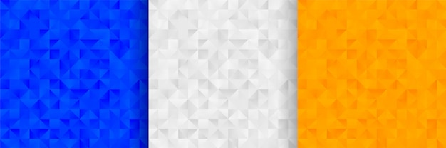 Abstract triangles pattern background design in three colors Free Vector