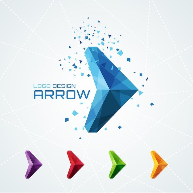 Logo astratto freccia triangolare o segno o simbolo. illustrazione vettoriale Vettore gratuito