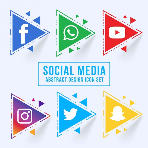 Abstract triangular social media icon set Free Vector