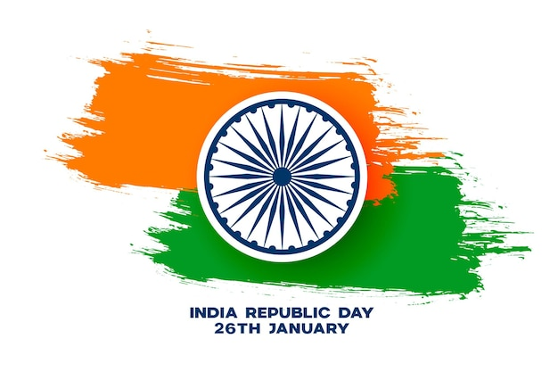 Abstract tricolor indian grunge flag for republic day Free Vector