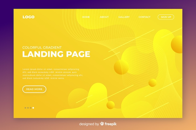 Abstract tridimensional landing page template Free Vector