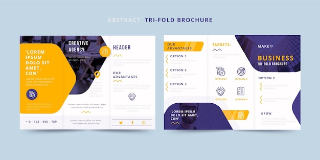Abstract trifold brochure front and back Premium Vector