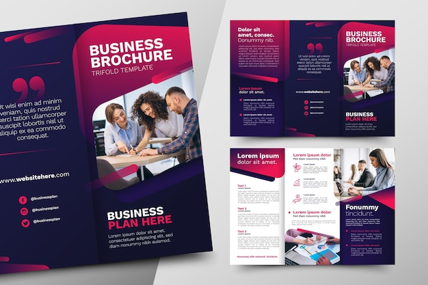 Abstract trifold brochure template theme Premium Vector
