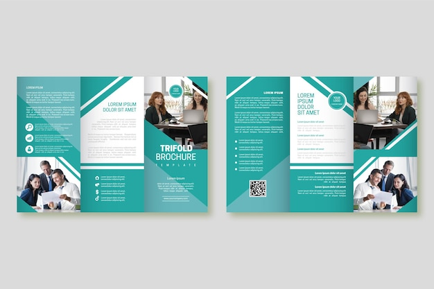 Абстрактный шаблон брошюры с фотографией Premium векторы