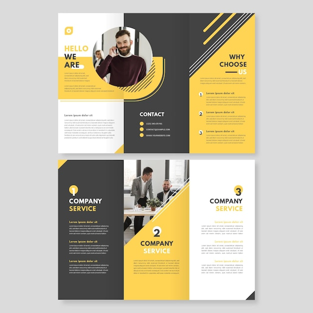Abstract trifold brochure template with photo Free Vector