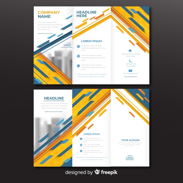 Abstract trifold brochure template Free Vector
