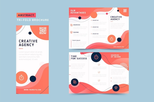 Abstract trifold brochure with fluid design Free Vector