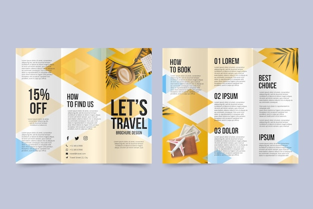 Abstract trifold brochure with photo Free Vector