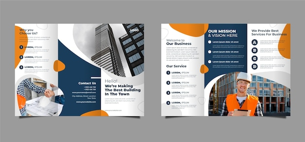 Abstract trifold brochure Free Vector