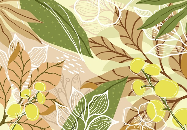 Abstract tropical floral art background Premium Vector